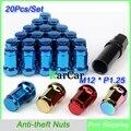 Rueda Tuercas M12x1.25 Tuercas Heptágono antirrobo Del Coche, 1.25 Wheel Formula Tuerca Clave de Seguridad de Acero de Aleación de Tuerca de Cierre Final Azul