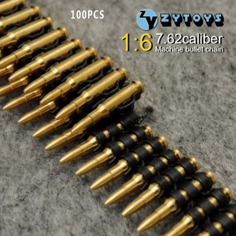 1/6 scale weapons accessories ZY Toys 7.62 caliber(100PCS)machine bullet chain For 12Action Figure dolls of bullets military