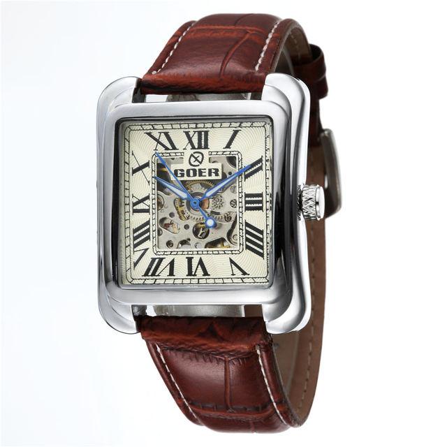 89803159865 Top Marca De Luxo Quadrado Esqueleto Mecânico Automático Relógios  FREQÜENTADOR de PU Couro Moda Casual Homens
