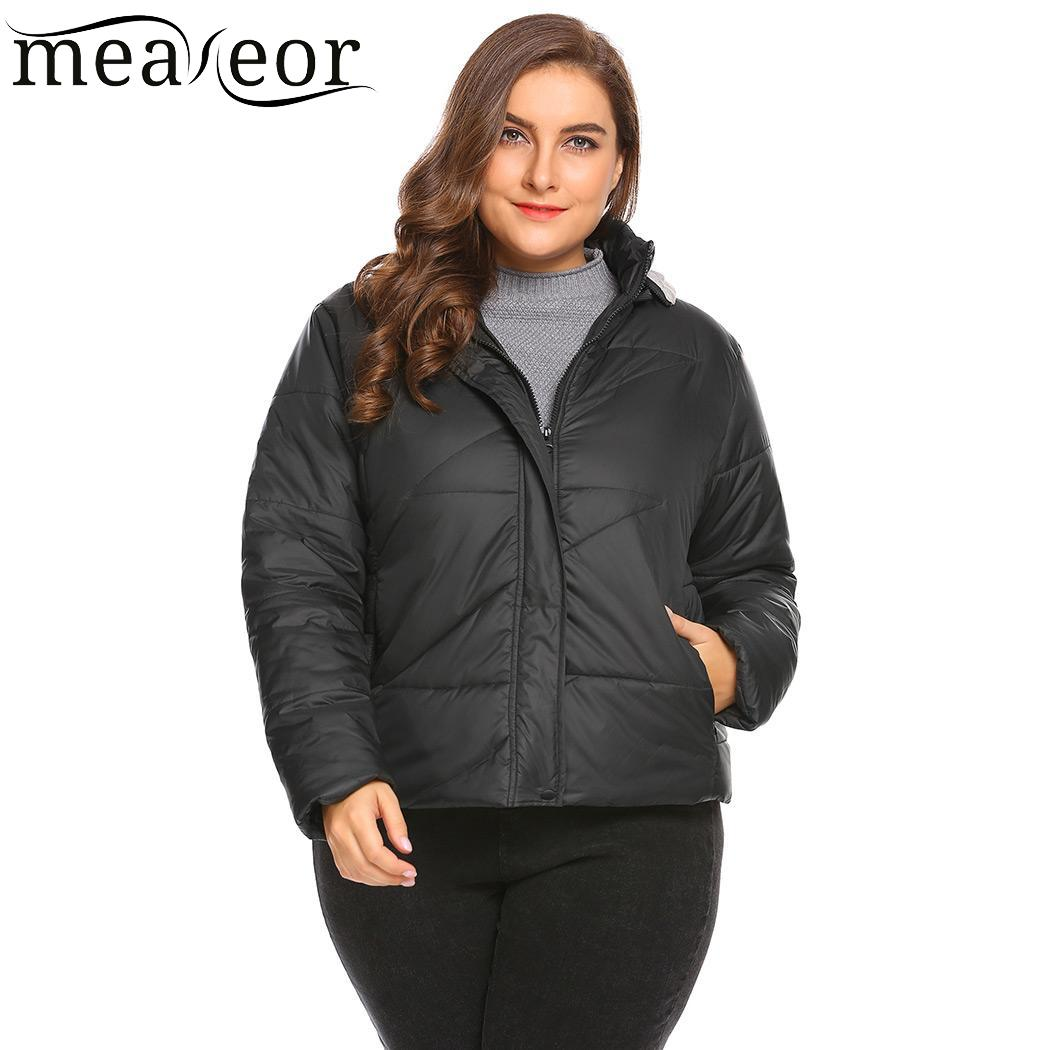 Meaneor Over Size Hooded Women Coats with Pocket Puffer Quilted Warm Autumn Winter Overcoat Detachable Plus Size Women Jackets