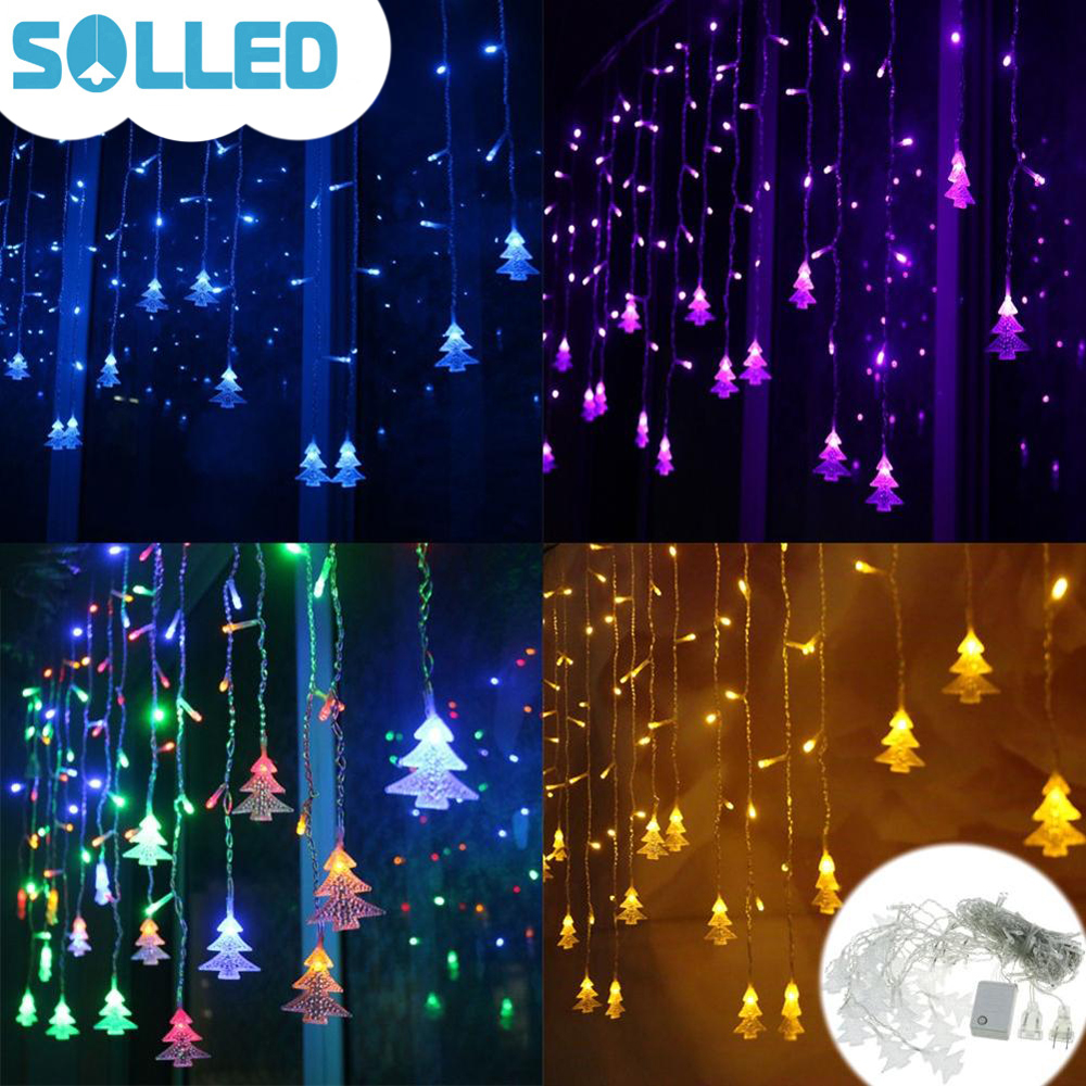 SOLLED Corded Christmas Tree Shaped LED Flashing Lights String Curtain Decoration Extendable Lamp Creative Fairy Outdoor Layout christmas decoration 6 3m droop 600 led curtain string lights icicle 220v for new year garden christmas led light curtain
