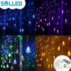 SOLLED Corded Christmas Tree Shaped LED Flashing Lights String Curtain Decoration Extendable Lamp Creative Fairy Outdoor