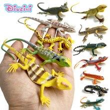 12 قطعة/السحالي الزواحف البلاستيكية نموذج غابة الحيوانات البرية اللعب الحلي الطبيعية تمثال PVC ديكور المنزل هدية للأطفال
