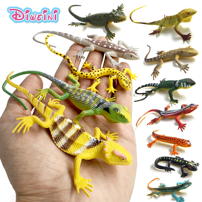 12pcs/ Lizards Reptile Simulation Plastic Forest Wild Animal Model Toys Ornaments Lifelike PVC Figurine Home Decor Gift For Kids