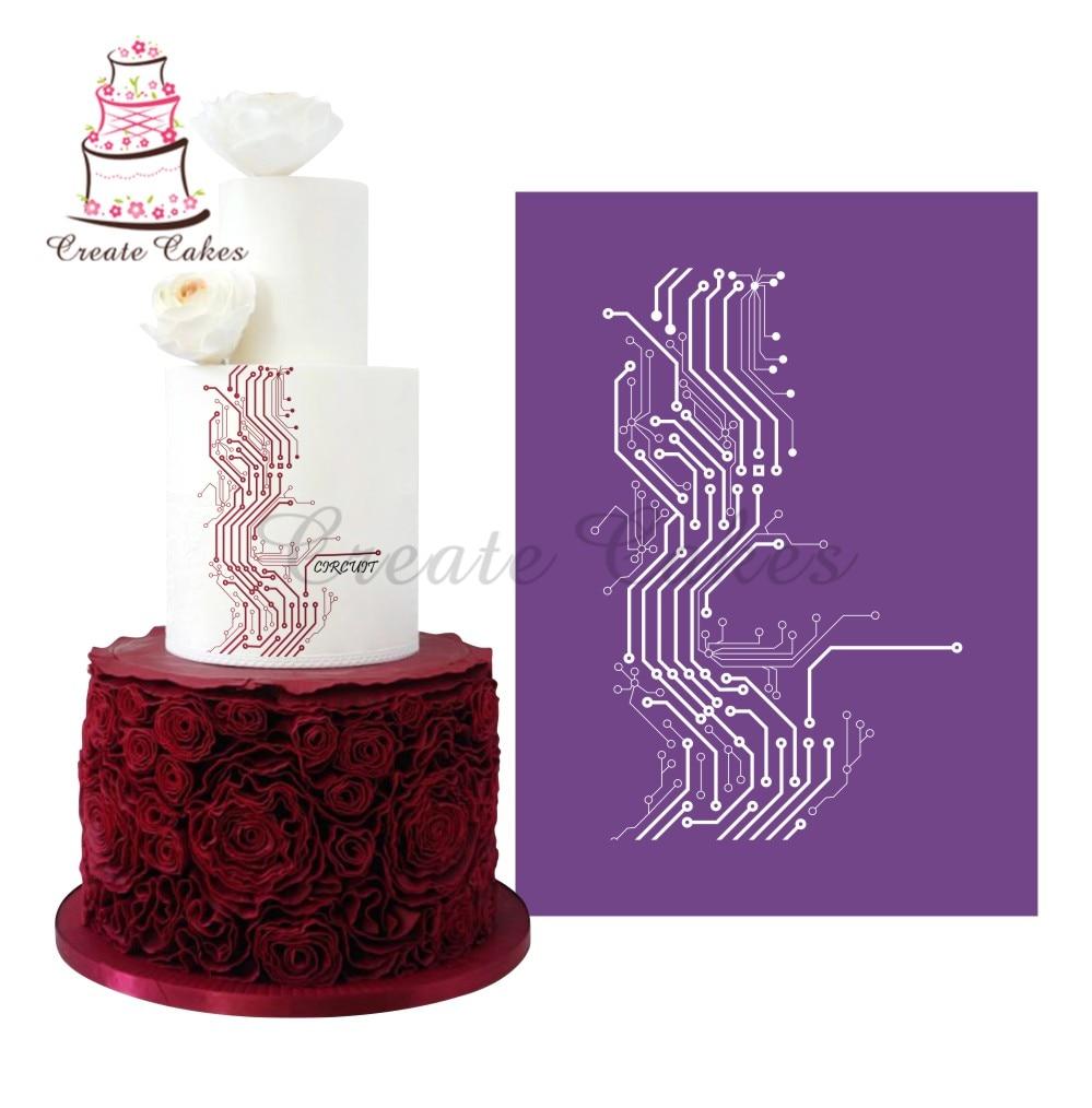 New Circuit Diagram Cake Mesh Stencil for Cake Design Fondant Lace Mold Fabric Stencils Decorating MST-30