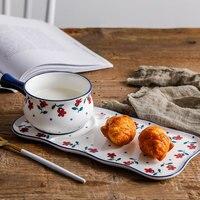 Creative Hand Painted Flower Ceramic Breakfast Bowl Dish Plate Tableware Set Dessert Fruit Bread Plate Cutlery Bowl mx3181550