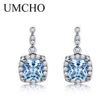 hot deal buy umcho created nano sky blue gemstone aquamarine drop earrings 925 sterling silver earrings jewelry fine earrings for women gift