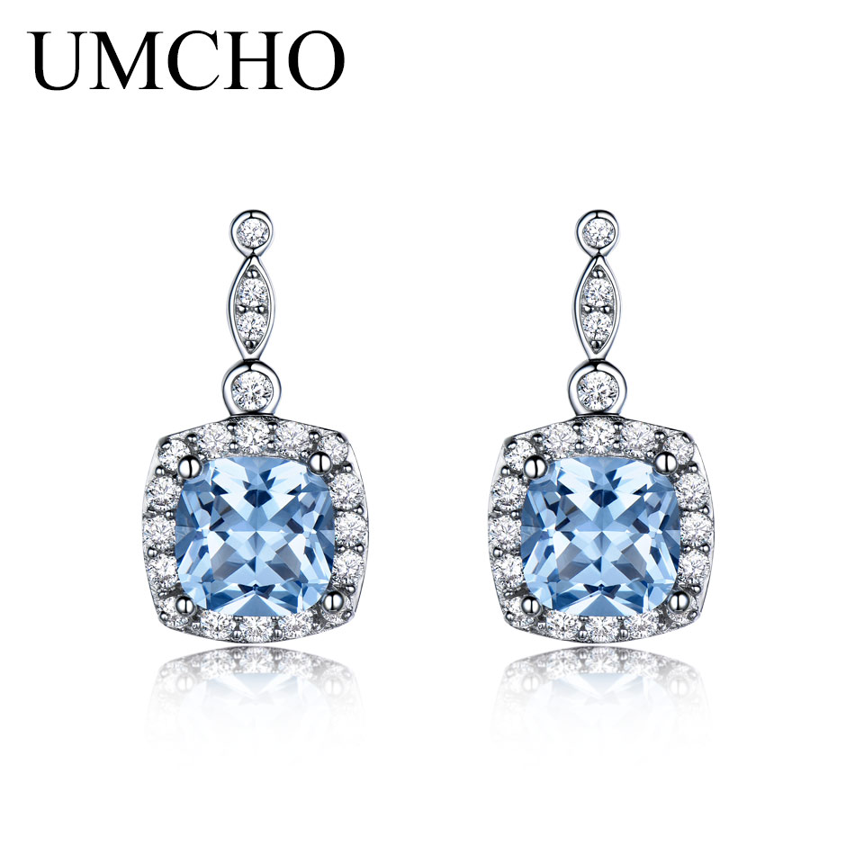 UMCHO Solid 925 Sterling Silver Drop Earrings Skapat Nano Sky Blue - Fina smycken