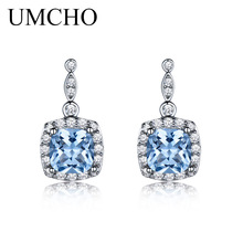 UMCHO Padat 925 Sterling Silver Drop Earrings Dibuat Nano Langit Biru Topaz Gemstone Fine Jewelry Earrings Untuk Wanita Hadiah
