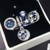 4pcs Fashion S925 Silver Midnight Blue Sky Dangle Charms Beads Jewelry Set Fit DIY Bracelet Necklaces Jewelry Making Woman Gift