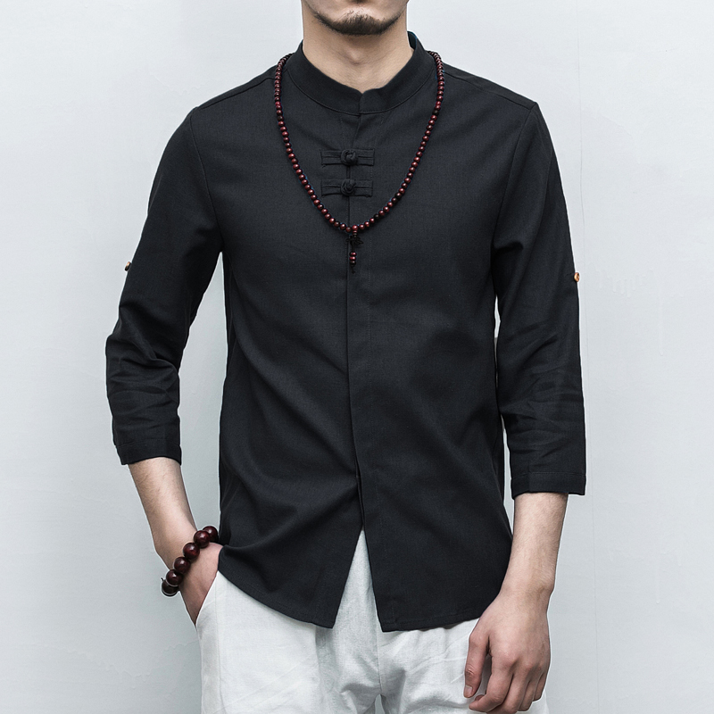 Chinese Style Men Shirt Brand New Slim Fit Stand Collar Social Male Shirts 3/4 Sleeve Solid Vintage Pan Kou Linen Blouse Homme