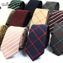 Gravatas de algodão clássico, gravatas estreitas de 6cm, formal ou para casamento, de estampa xadrez