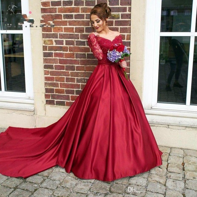 New Sexy Vintage Burgundy Off Shoulder Long Sleeve Prom Dress V Neck  Mermaid Ribbon Sash Plus Size Said Mhamad Evening Gowns 26d789de34f8