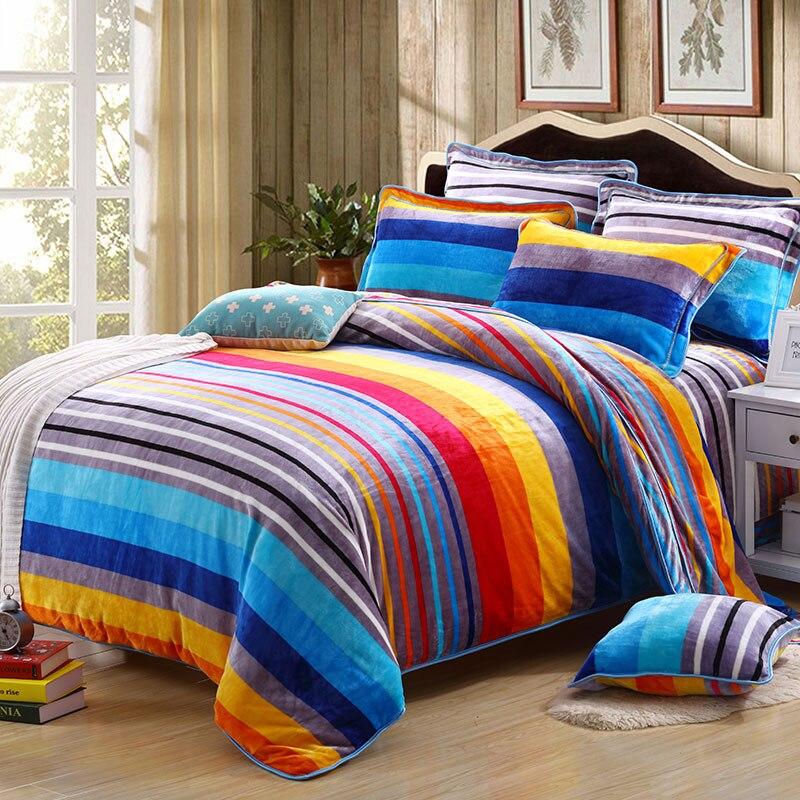 2017 multicolor stripes thick fleece bedding set queen king size for kids adults winter warm. Black Bedroom Furniture Sets. Home Design Ideas