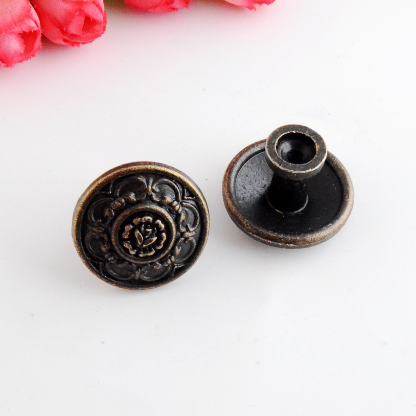 Free Shipping 2PCs Jewelry Wooden Box Pull Handle Dresser Drawer For Cabinet Door Round Antique Bronze 30x22mm F1009