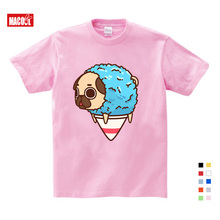 girls baby clothes for summer  Cute Dog Ice Cream Puppies Printing T Shirt Girls Summer Short Pink Cotton T-shirts 3-15 Years