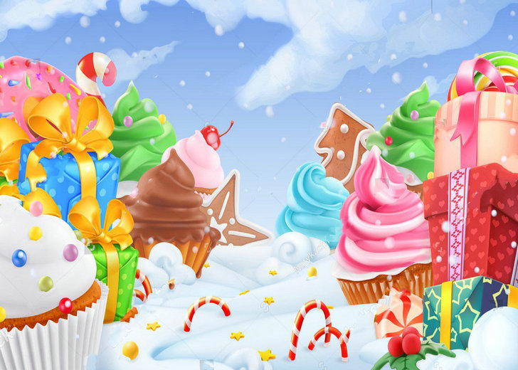 Cloud Snow Cake Gift Winter Candyland Candy Photography Backgrounds Vinyl cloth Computer print wall photo backdrop