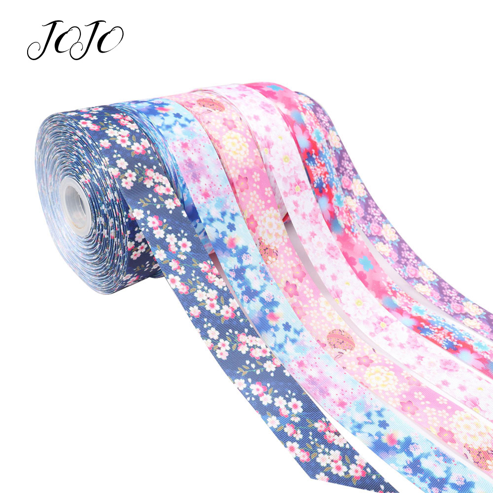 JOJO BOWS 38mm 5y Grosgrain Ribbon Flower Printed Tape For Clothing Holiday Decoration Box Wrapping DIY Hair Bows Home Textile