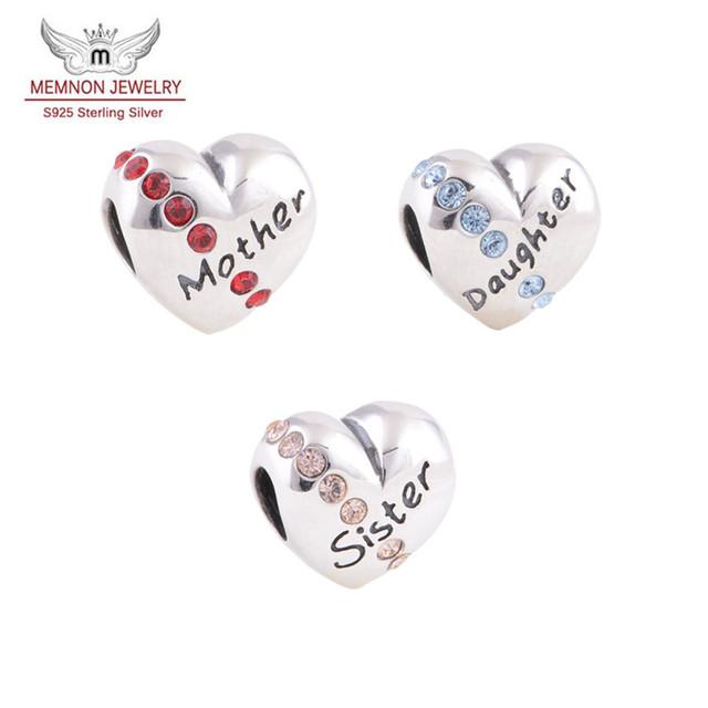 Prata sterling - jóias coração charme mãe filha irmã encantos ajuste contas pulseiras DIY 925 finas jóias de prata X121
