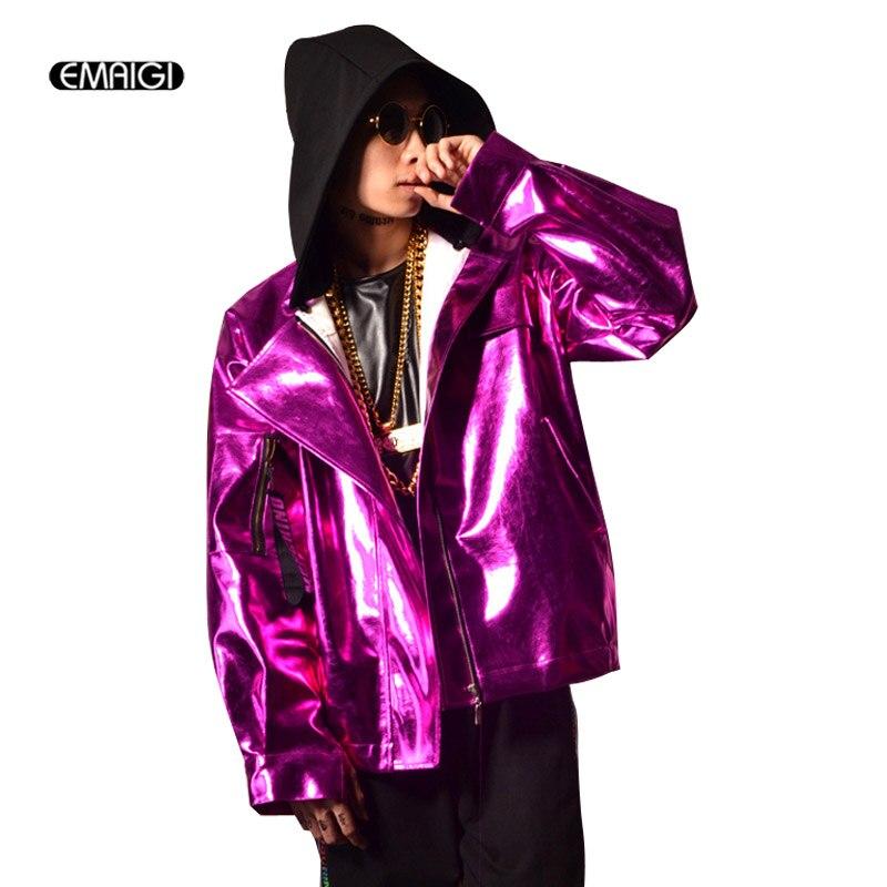 Men Purple PU Leather Jacket Hooded Loose Baseball Coat Male Night Bar Hip Hop Hairdresser Jacket Stage Show Costumes