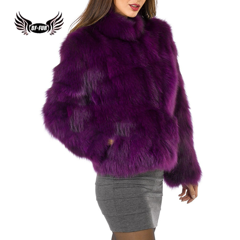 Bffur 2019 New Arrival Popular Purple Real Natural Fox Fur Coats For Womens Luxurious Jackets With Fur Collar Whole Skin Fur Top