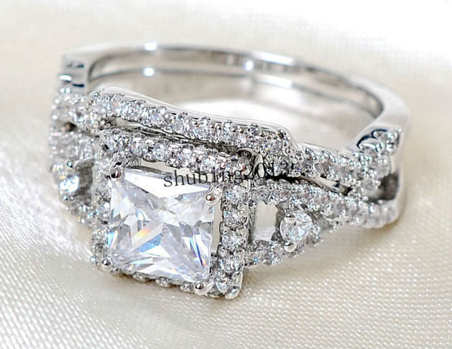 49bc8cda9 White Gold Filled Rhodium plating Princess cut 5mm CZ Women's Wedding Ring  Sets Engagement Ring