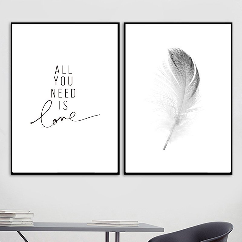 Poster Modular Pictures Room Decoration Canvas Painting Wall-Art Feather-Letter Prints