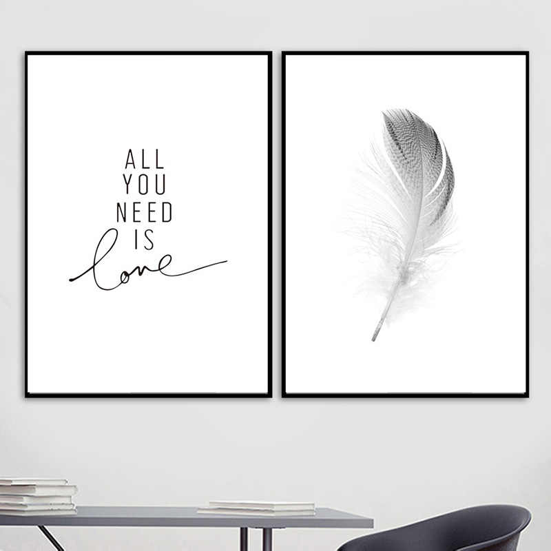 Home Decor Wall Art HD Prints Nordic Style Feather Letter Canvas Painting Poster Modular Pictures Room Decoration Modern Hot Sal