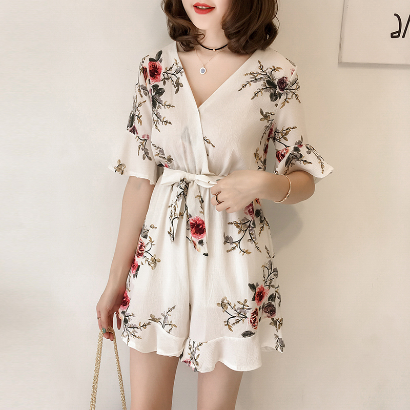 V Neck Jumpsuit Women Summer Casual Sexy Short Rompers Printing Flower Jumpsuits Plus Size M-4XL