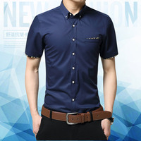 Nice New Men Shirts Fashion Design Solid Short Sleeve Mens Dress Shirts Brand Clothing Casual Shirts Chemise Homme Plus M 7XL