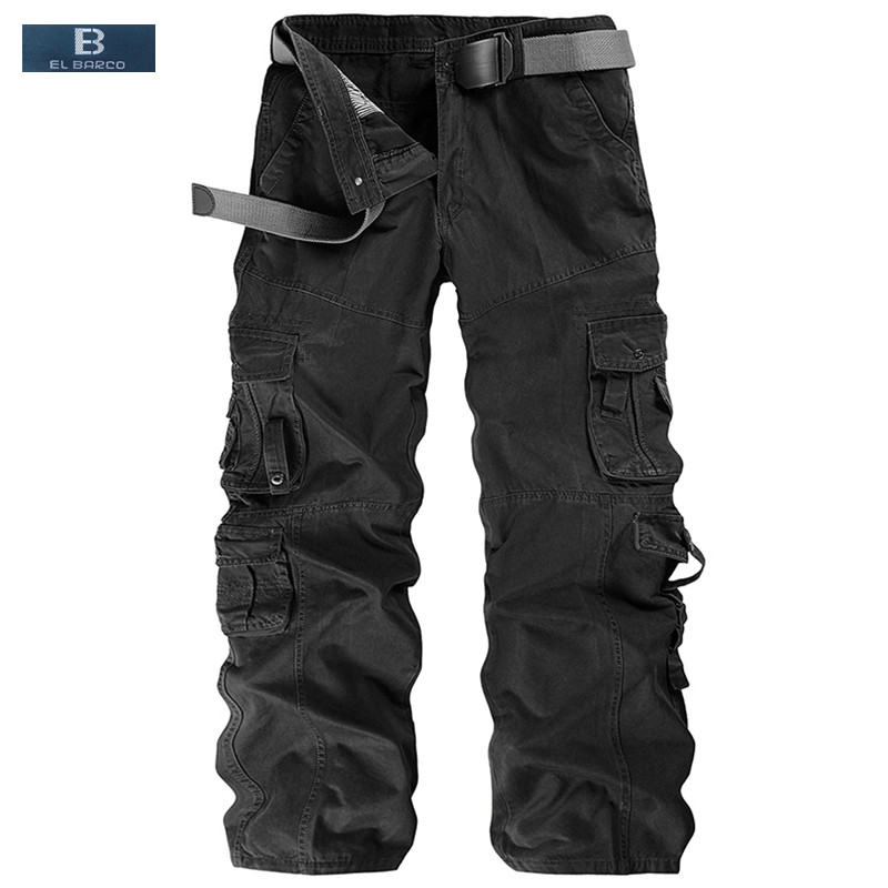 [EL BARCO] New Arrival Cotton Men Cargo Pants Casual Trousers Pocket Autumn Soft Breathable Black Khaki Male Long Loose Clothing