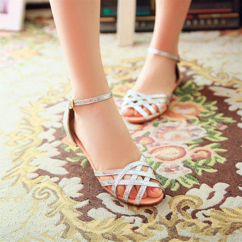 Lady's Bling Buckle-Strap Cover Heel Plus size (4-17) Flats Cut-outs Open toe Beach sandals Summer shoes School girl Flip flops slhjc 2017 summer flats cool sandals flat heel pointed toe cutout jelly shoes durable wear sandals beach travel shopping shoes