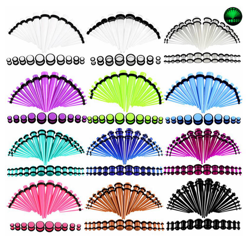 36pcs/lot Acrylic Ear Gauge Taper And Plug Stretching Kits Mixed Color Ear Flesh Tunnel Expansion Body Piercing Jewelry 14G-00G(China)