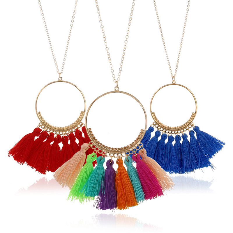 Fashion Long Tassel Necklace For Women Vintage Boho Bohemian Ethnic Jewelry