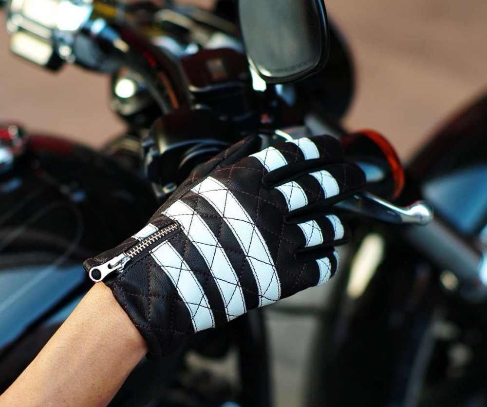 UGLYBROS moto retrò guanti in pelle touch screen tutti si riferisce a guanti del motociclo degli uomini in Bianco e Nero Guanti Moto