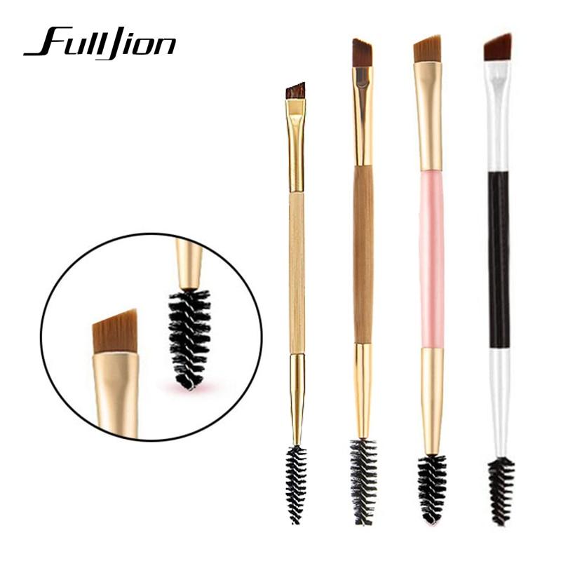 Fulljion High Quality 1PCS Bamboo Handle Double Eyebrow Brush + Eyebrow Comb Portable Eyebrow Brushes For Eyes Makeup Tools portable abs foldable cosmetic eyebrow comb green