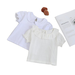 Adorable newborn baby shirt cotton short sleeve infant girls blouse summer kids shirt for girls clothes toddler baby clothing(China)
