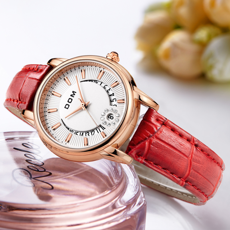 DOM Fashion Ladies Casual Watches Luxury Brand Leather Strap clock hours Women Quartz-Watch Flowers Female Wristwatch G-1698 weiqin brand colorful strap lovers watches bracelet luxury diamond women quartz watch fashion ladies wristwatch hours clock gift