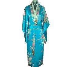 Fashion Light Blue New Japanese Women's Silk Satin Kimono Yukata Evening Dress Flower One Size Free Shipping H0039