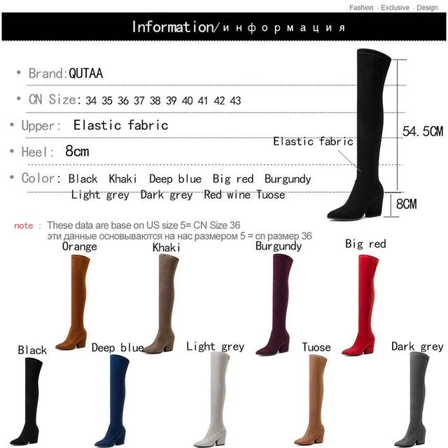 QUTAA 2019 Women Over The Knee High Boots Hoof Heels Winter Shoes Pointed Toe Sexy Elastic Fabric Women Boots Size 34-43 5