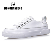DONGNANFENG Women Female Ladies Students Gril Genuine Leather White Shoes Flats Platform Korean Lace Up Vulcanized XD-W052