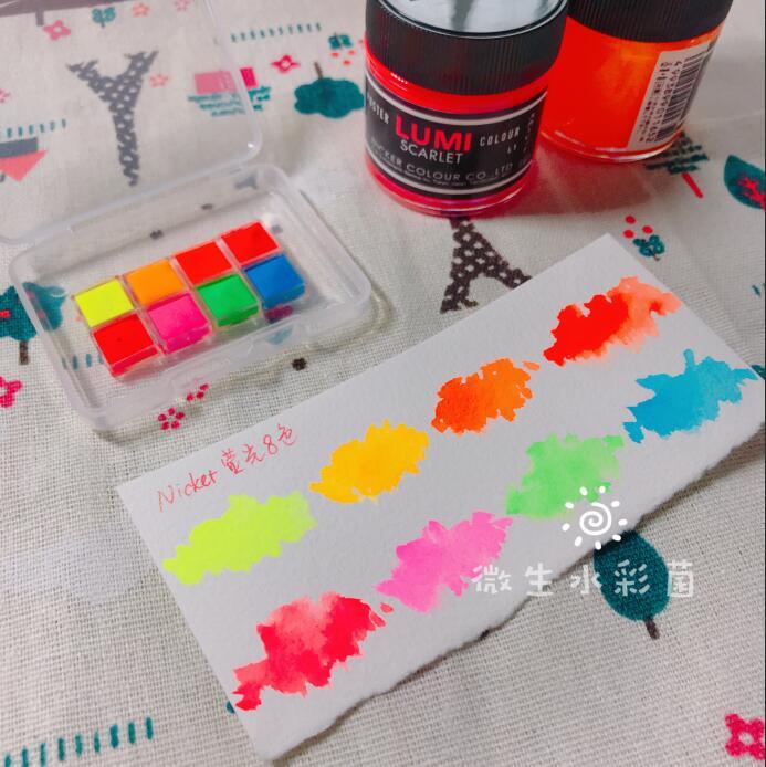 NICKER Acuarela Aquarela Hayao Miyazaki Anime Watercolor Fluorescent 8 Color Water Color Art Painting Sub-package Sulu Boya
