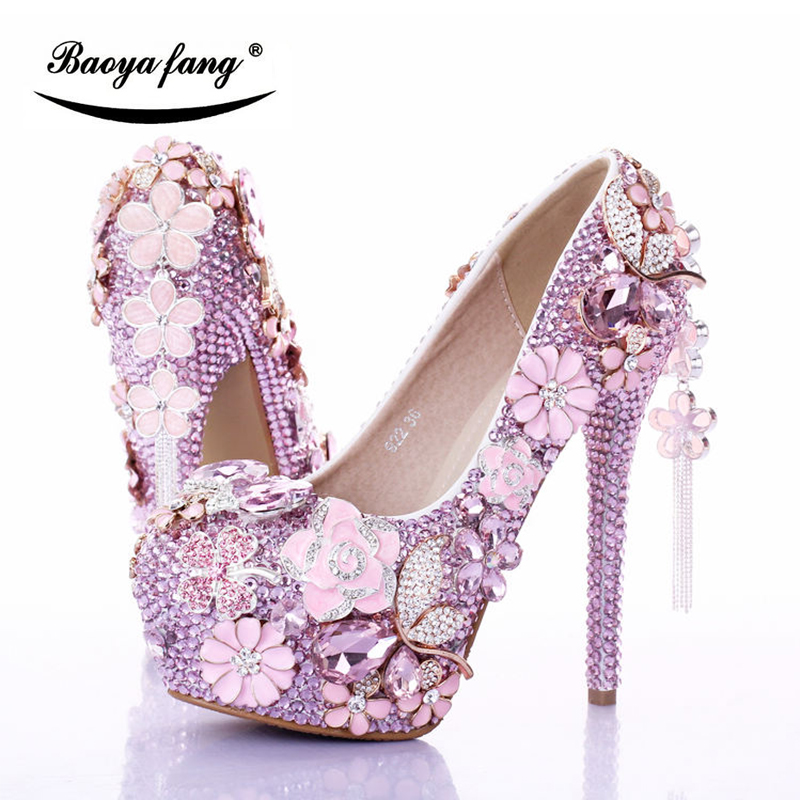 BaoYaFang  Luxury Pink crystal Womens wedding shoes ankle strap Platform shoes woman Flower party dress shoes female high Pumps baoyafang red crystal womens wedding shoes with matching bags bride high heels platform shoes and purse sets woman high shoes