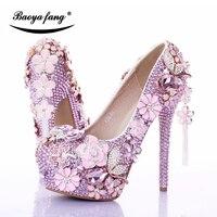 Baoyafang Роскошный Розовый Кристалл женские свадебные туфли с ремешками на лодыжках на платформе женская обувь с цветочным рисунком праздничн...