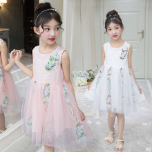 Summer Girls Dresses Flower Embroidery Children Dress Girls Sleeveless Dress Kids Cute Tutu Dress cute sleeveless scoop neck striped flower embellished dress for girls