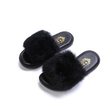 Fashion Girls Sandal Faux Fur Slipper Winter Warm Princess Flat Shoes Home Plush Shoes Kids Baby Velvet Shoes TX89