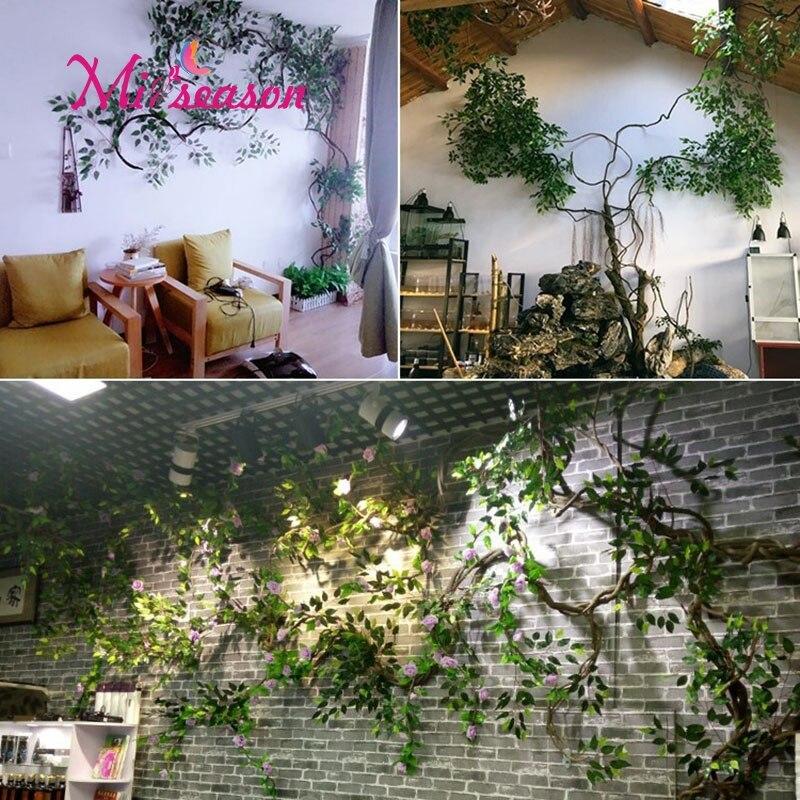 1 Set grün Eukalyptus blätter landschaftsbau innen wohnzimmer wand gefälschte blume baum rattan reben anlage dekoration für home shop - 6