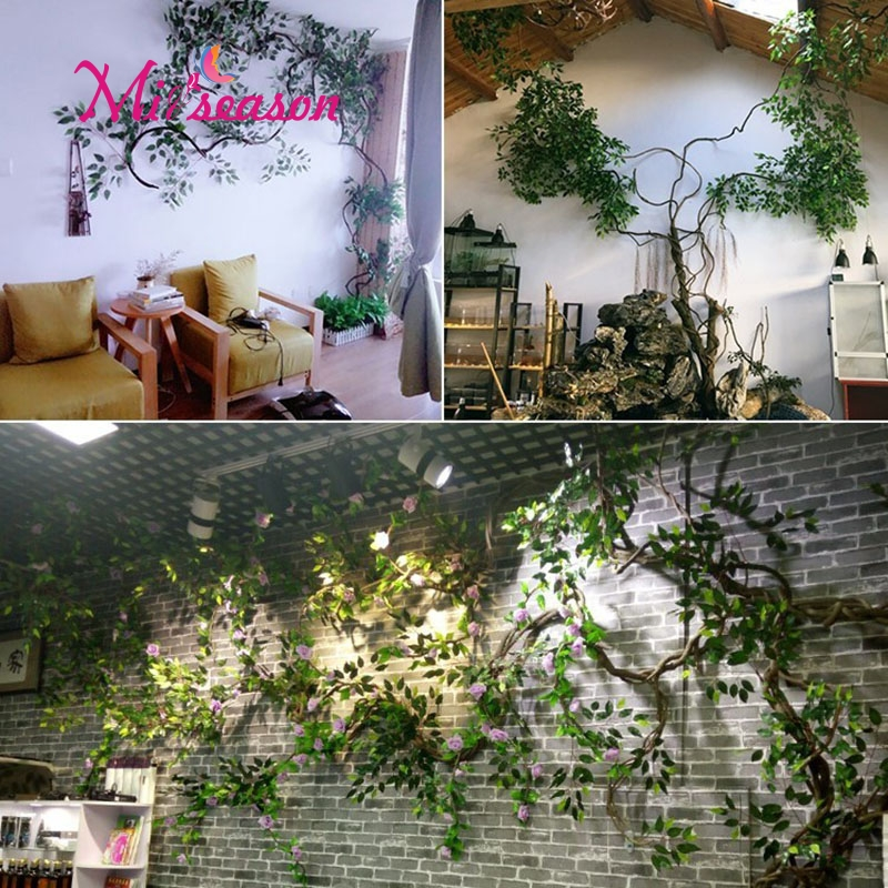 1 Set green Eucalyptus leaves landscaping indoor living room wall fake flower tree rattan vine plant decoration for home store - 6