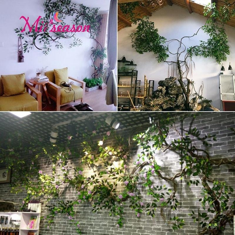 1 Set verde foglie di Eucalipto paesaggio vita interna della parete della stanza di fiori finti albero di natale rattan pianta di vite decorazione per la casa negozio - 6