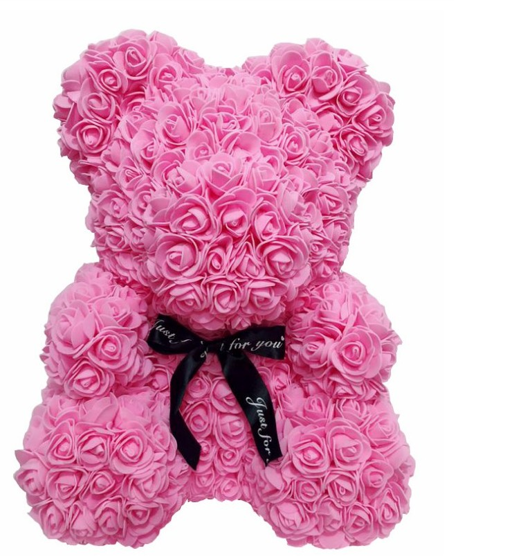 New 40cm Rose Bear Doll Valentines Romantic Gifts Artificial Rose Decorations Teddi Bear Rose Flower Cartoon Kids Birthday Gift in Party DIY Decorations from Home Garden